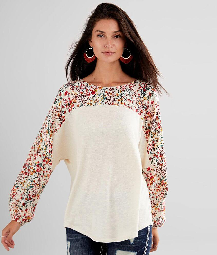 Daytrip Pieced Floral Top front view