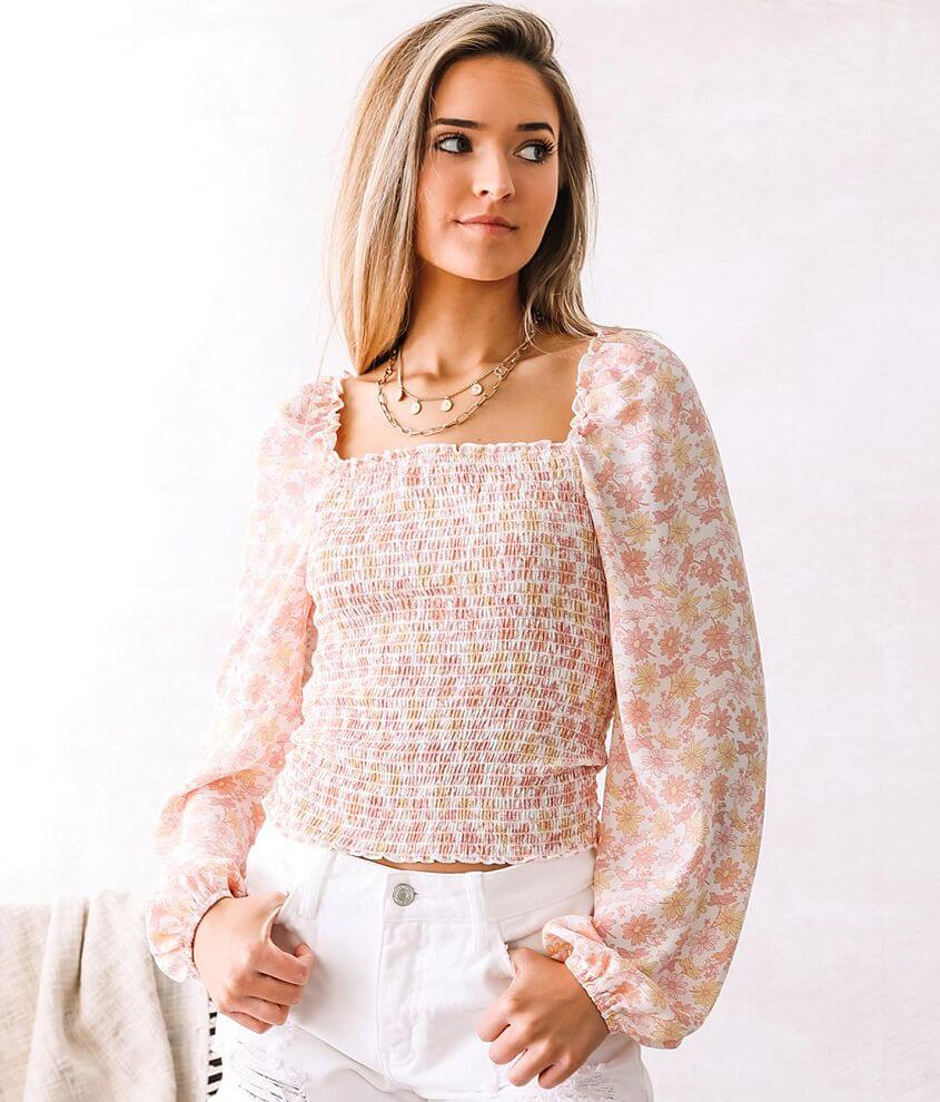 Willow & Root Smocked Daisy Print Top front view