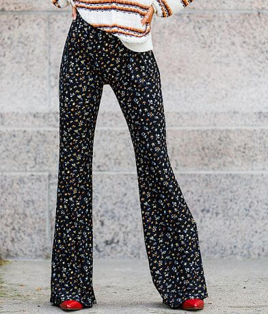 Willow & Root High Rise Floral Knit Flare Pant