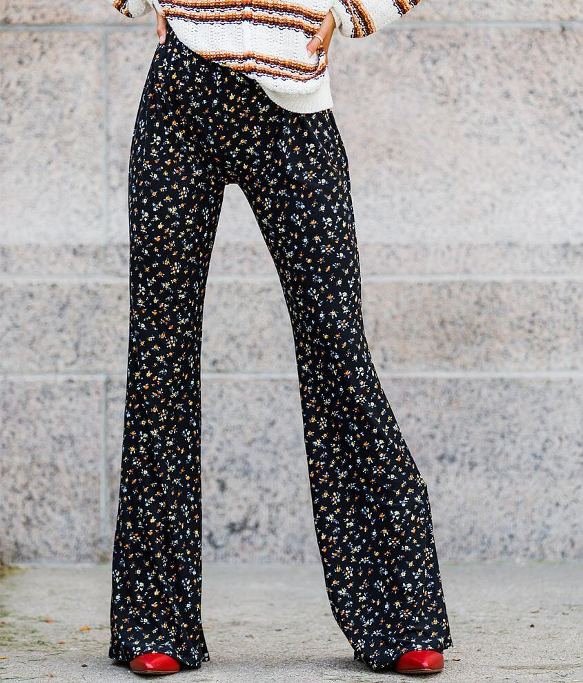 Willow & Root High Rise Floral Knit Flare Pant front view