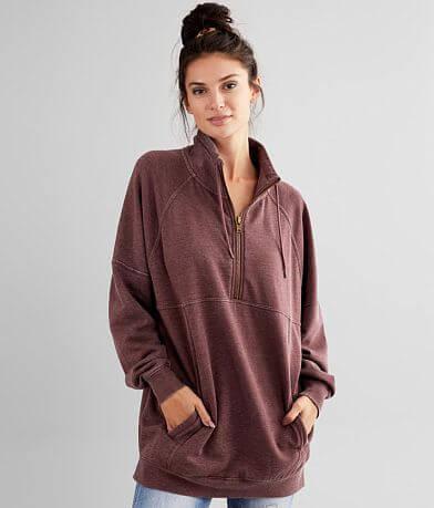 BKE Quarter Zip Mock Neck Pullover Sweatshirt