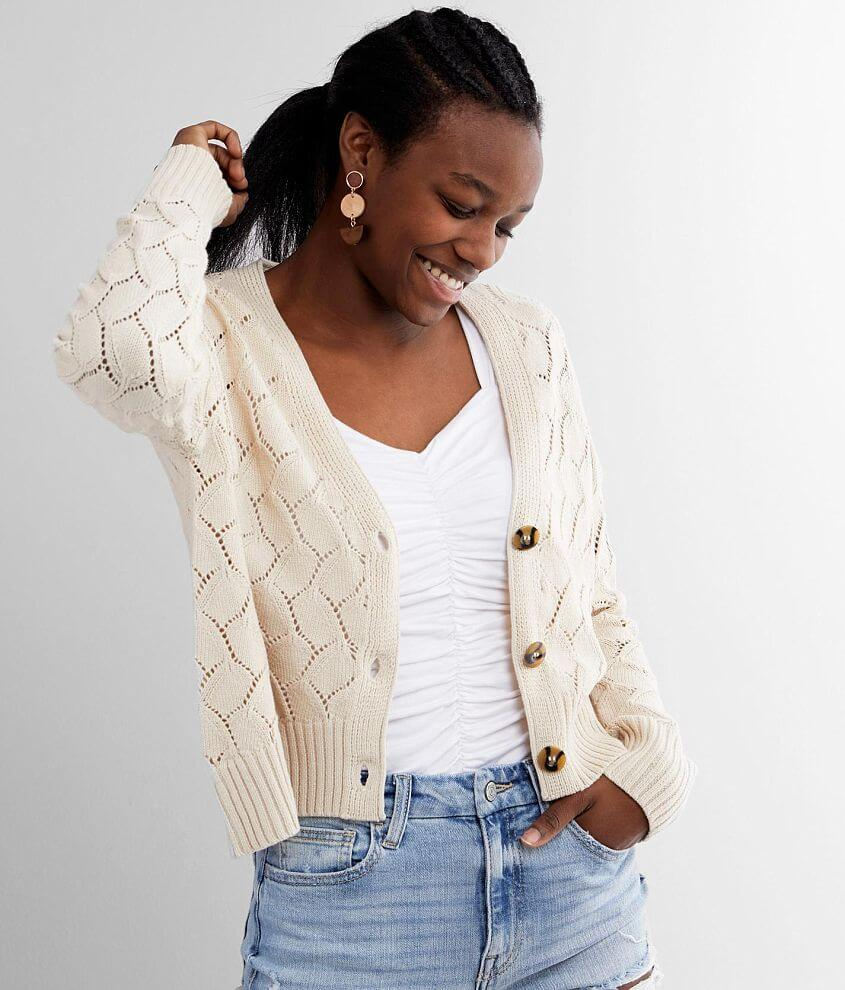 Daytrip Pointelle Cropped Cardigan Sweater front view