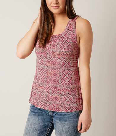 Daytrip Printed Henley Tank Top