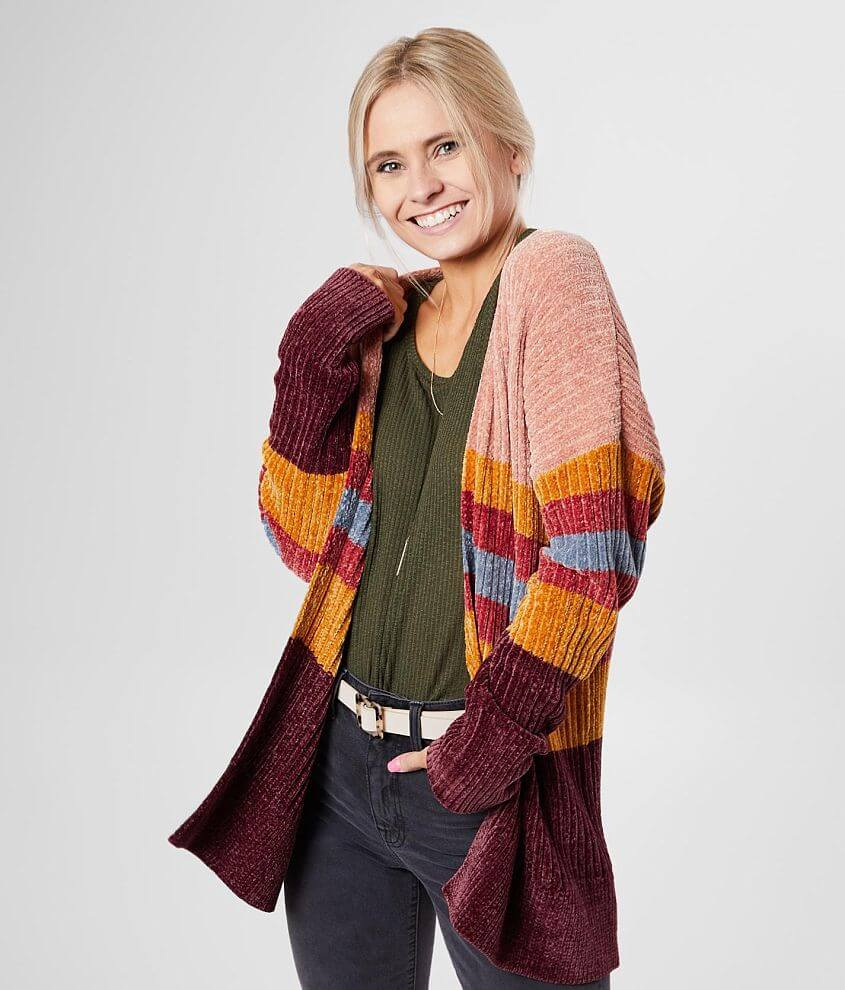 BKE Striped Chenille Cardigan Sweater front view