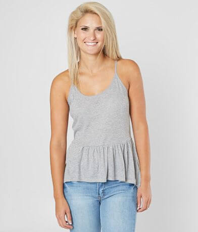 Olive & Oak Ribbed Peplum Tank Top