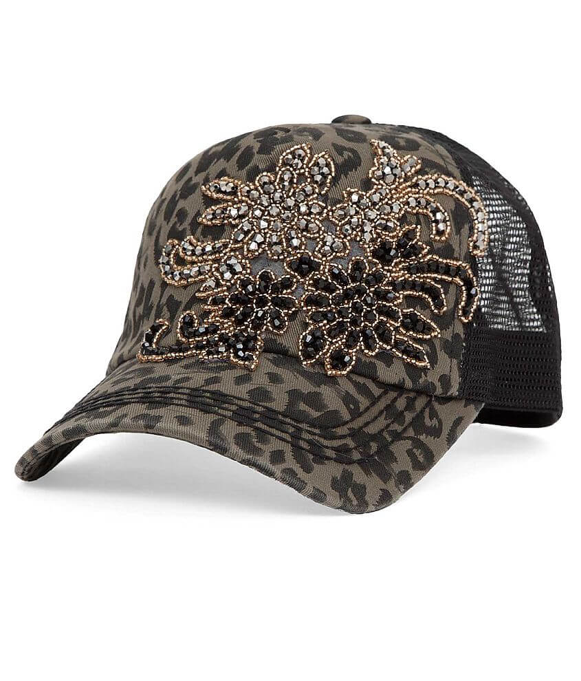 Olive   Pique Bling Trucker Hat - Women s Hats in Grey Leopard  ba90ac220