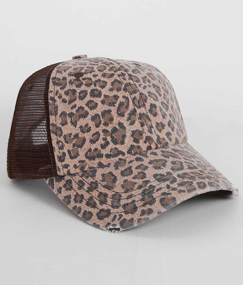 Olive & Pique Leopard Trucker Hat front view