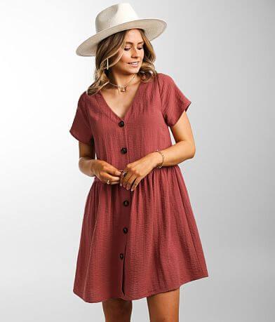 Daytrip Flowy Textured Woven Babydoll Dress