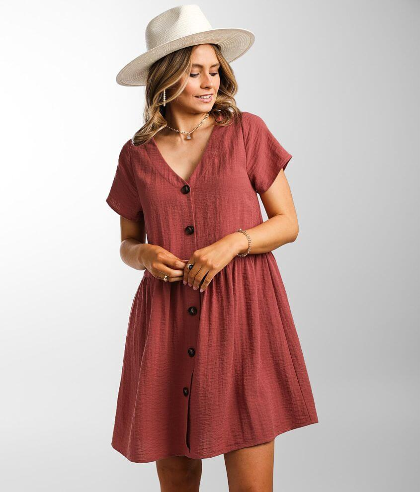 Daytrip Flowy Textured Woven Babydoll Dress front view