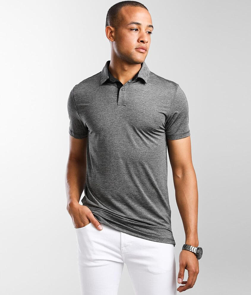 BKE Mini Striped Performance Stretch Polo front view