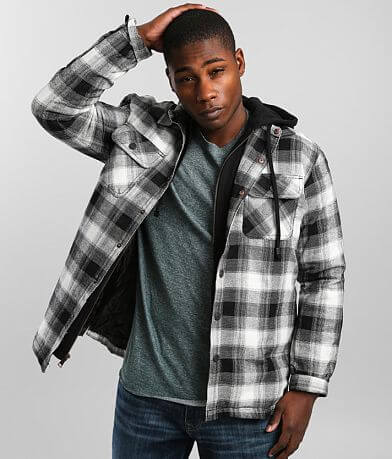 Outpost Makers Checkered Plaid Hooded Shacket
