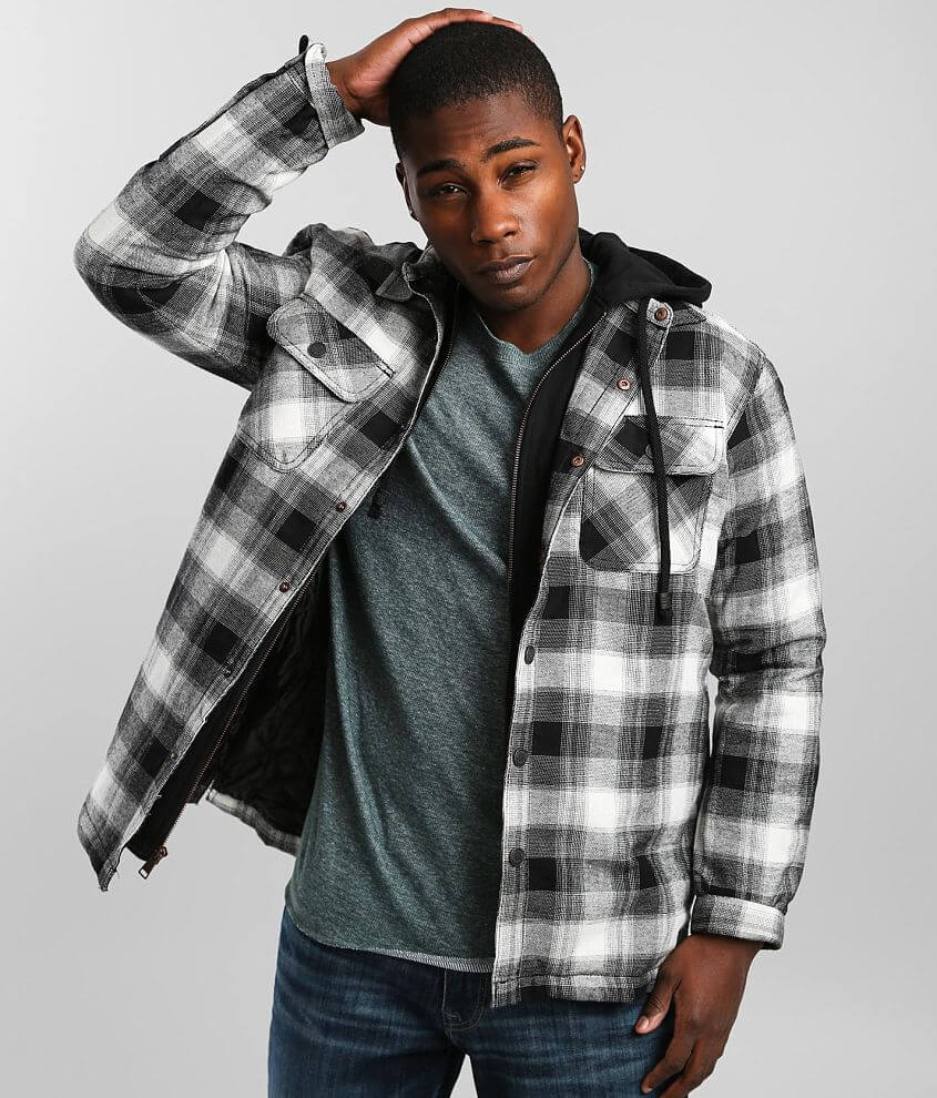 Outpost Makers Checkered Plaid Hooded Shacket front view