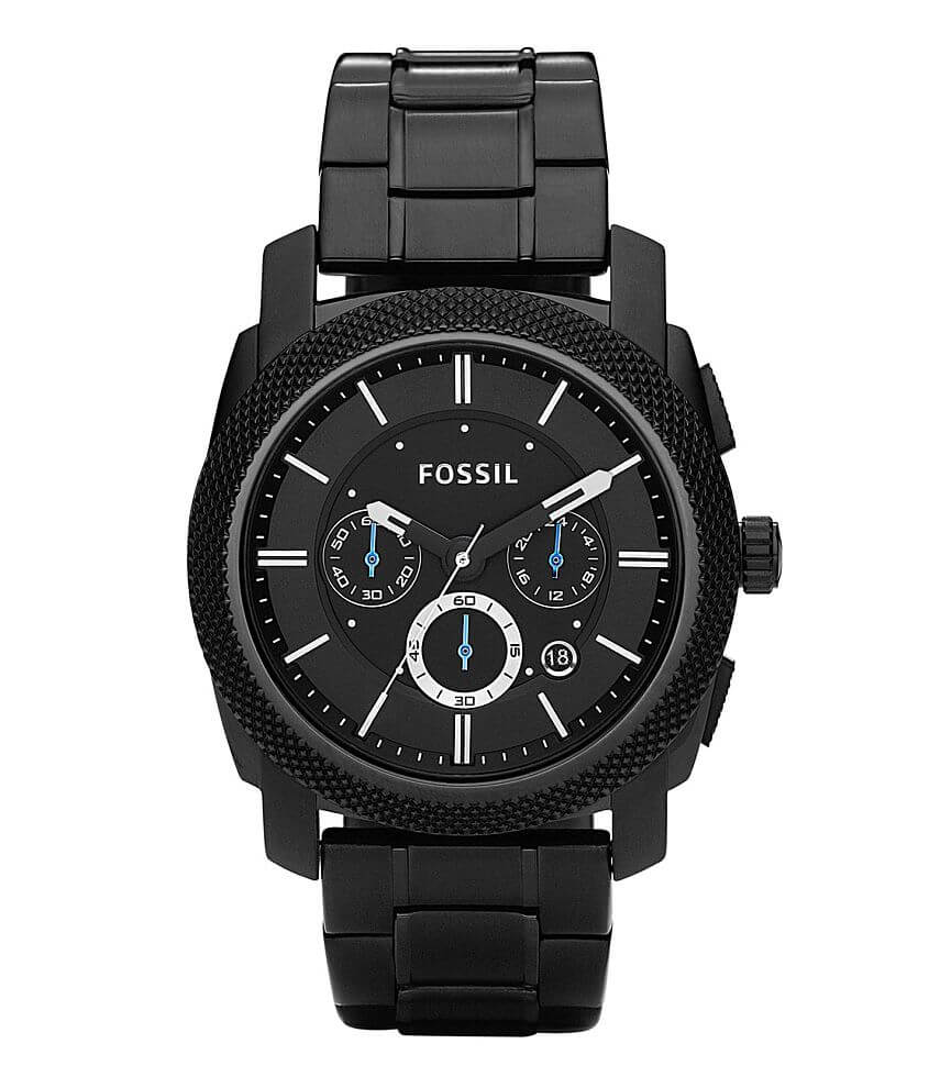 Fossil Machine Black Chronograph Watch front view
