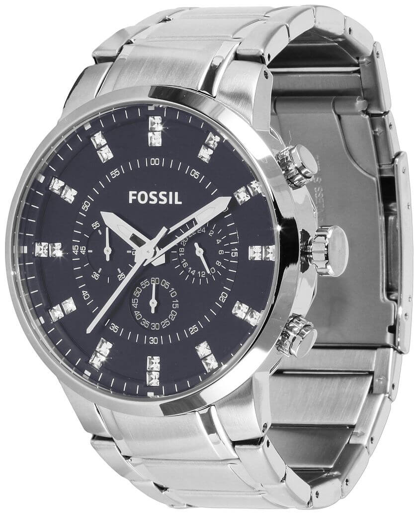 Fossil Navy Dial Chrono Watch front view