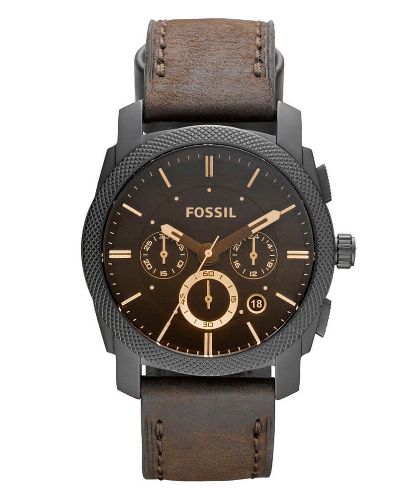 Fossil Machine Leather Watch front view