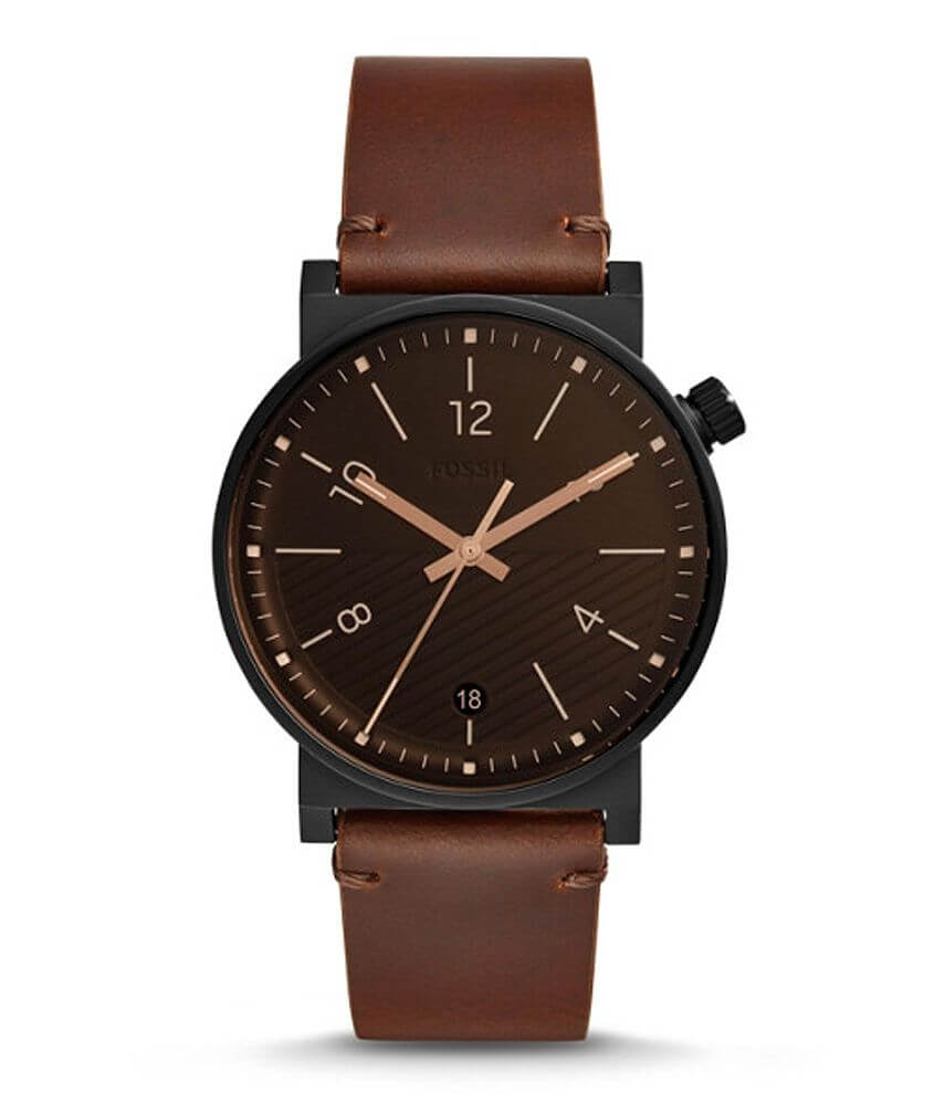 eb28b6b3e Fossil Barstow Leather Watch - Men's Watches in Brown   Buckle