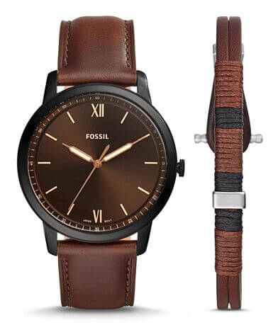 Fossil Minimalist Leather Watch Set