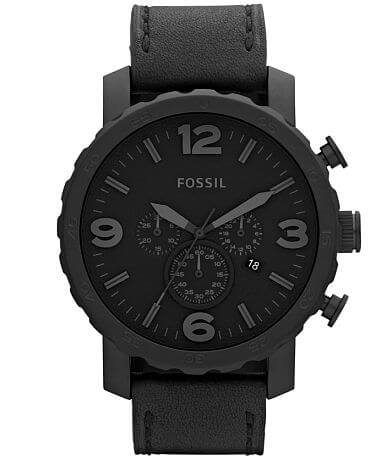 Fossil Nate Black Leather Watch