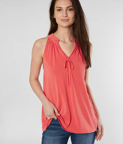 red by BKE Front Tie V-Neck Tank Top