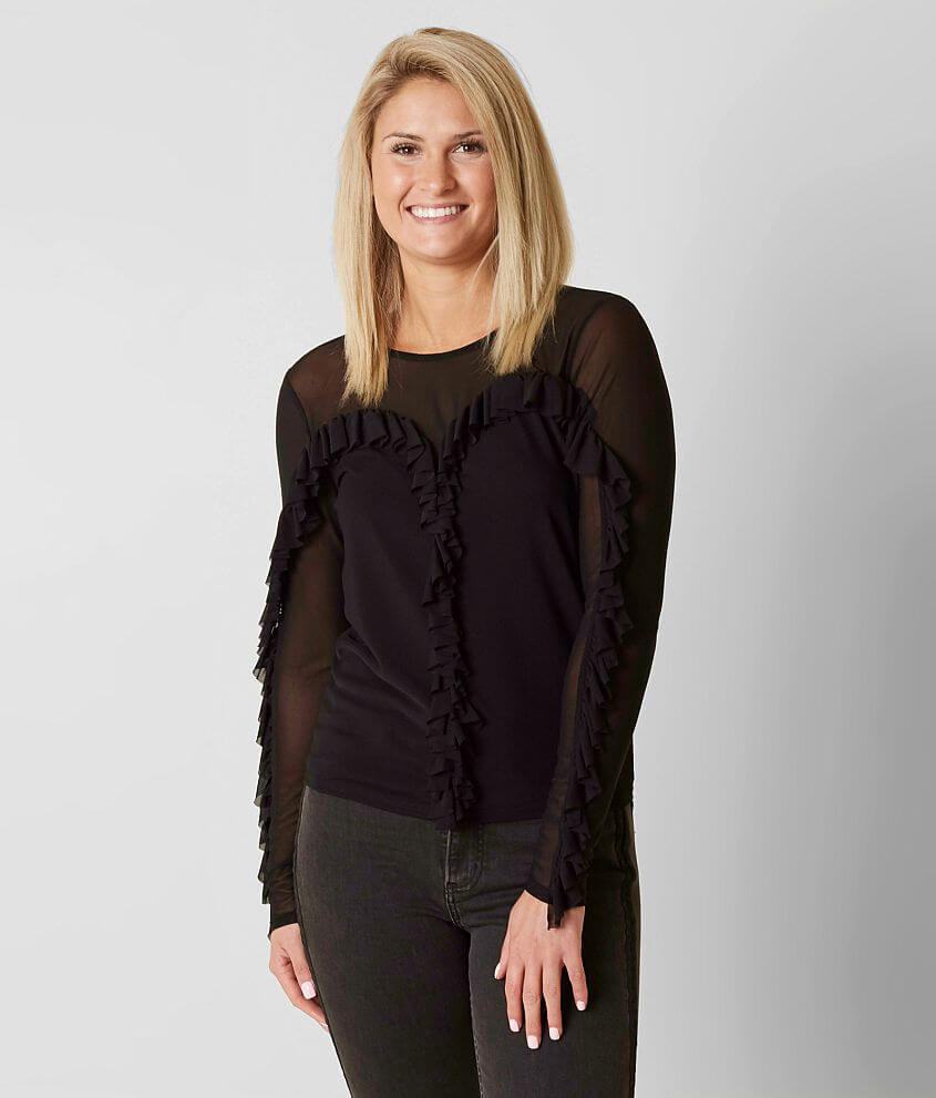 BKE Boutique Ruffle Top front view
