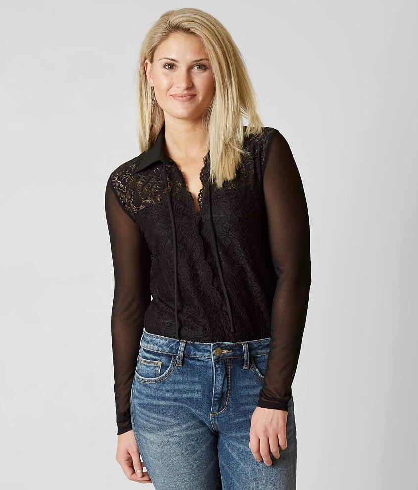 BKE Boutique Collared Bodysuit front view
