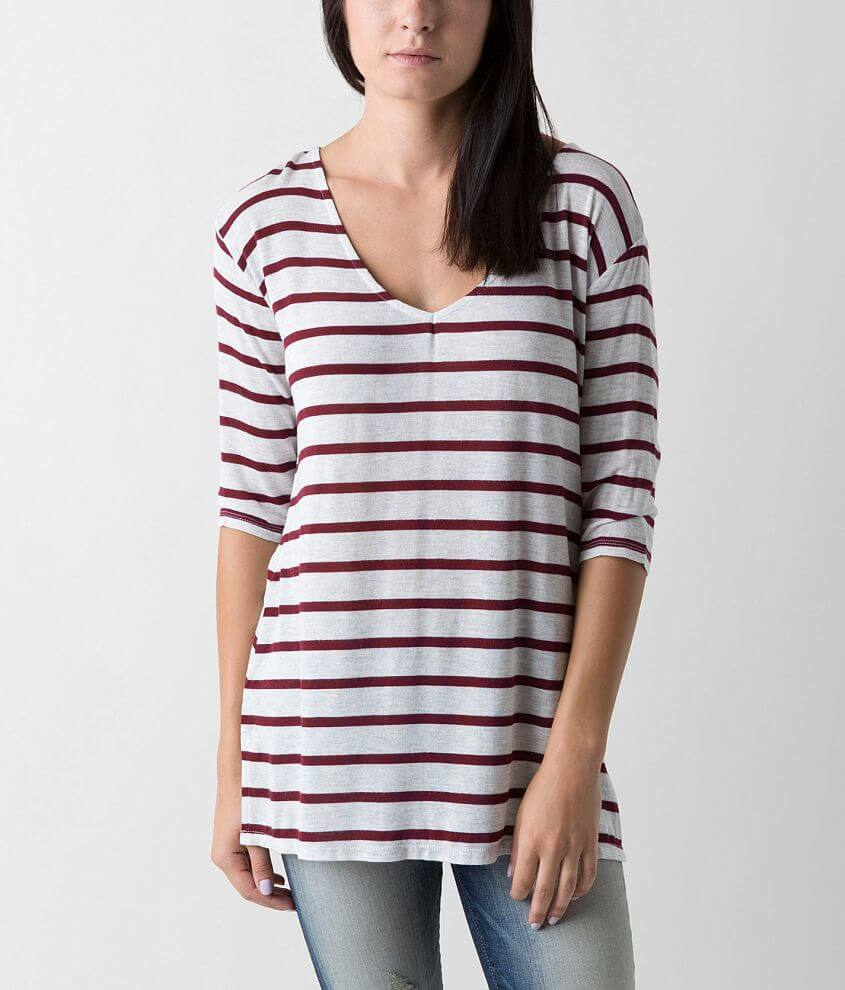 BKE red Striped Top front view