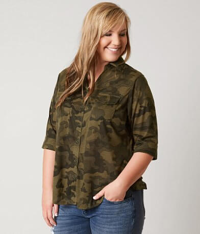 paper + tee Camo Shirt - Plus Size Only