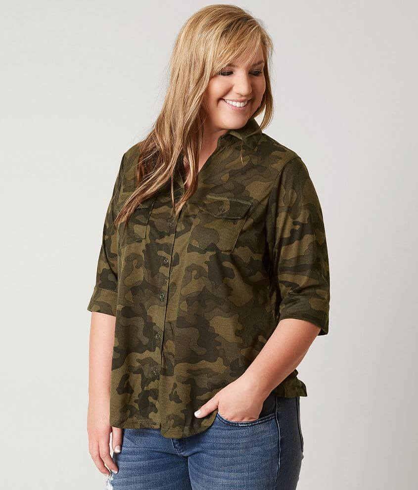 da66d58c3f2d1 paper + tee Camo Shirt - Plus Size Only - Women's Shirts/Blouses in ...