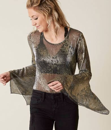 willow & root Sheer Shimmer Top