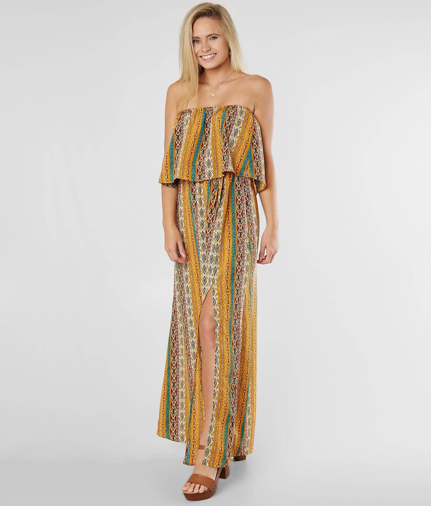 Southwestern Strapless Maxi Dress