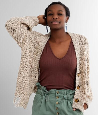 BKE Shaker Stitch Cardigan Sweater