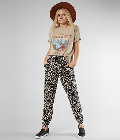 Daytrip Ribbed Leopard Print Paperbag Pant