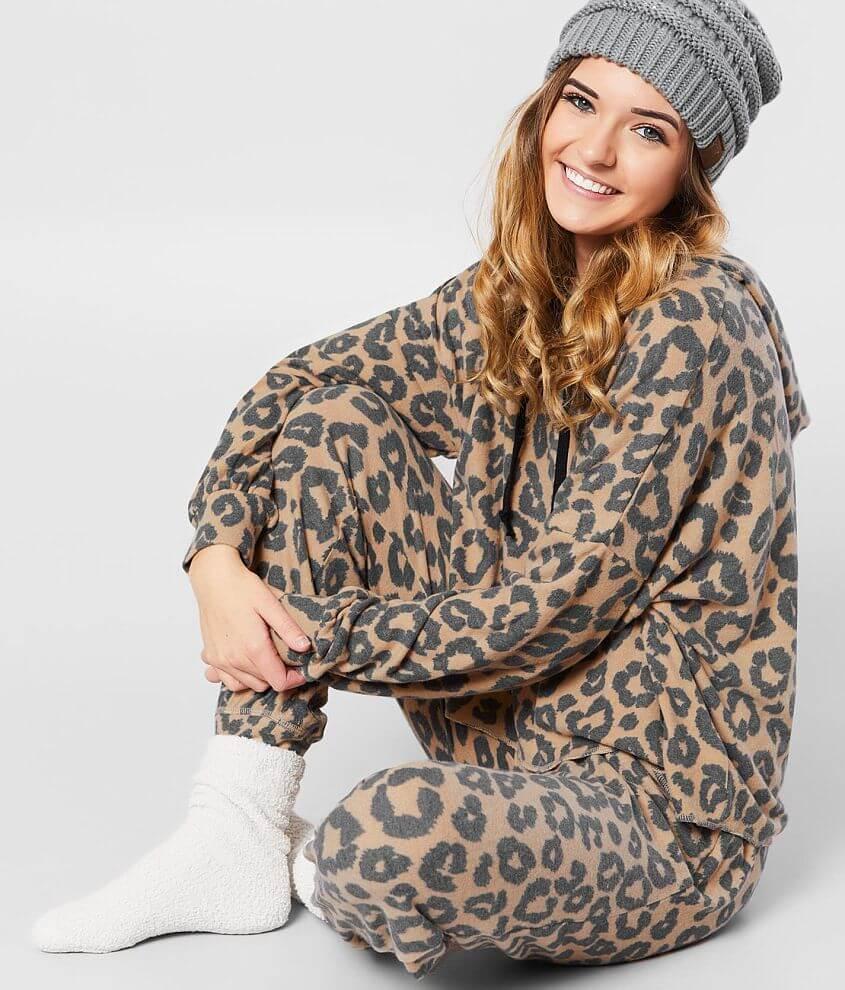 BKE Brushed Knit Cheetah Print Jogger front view