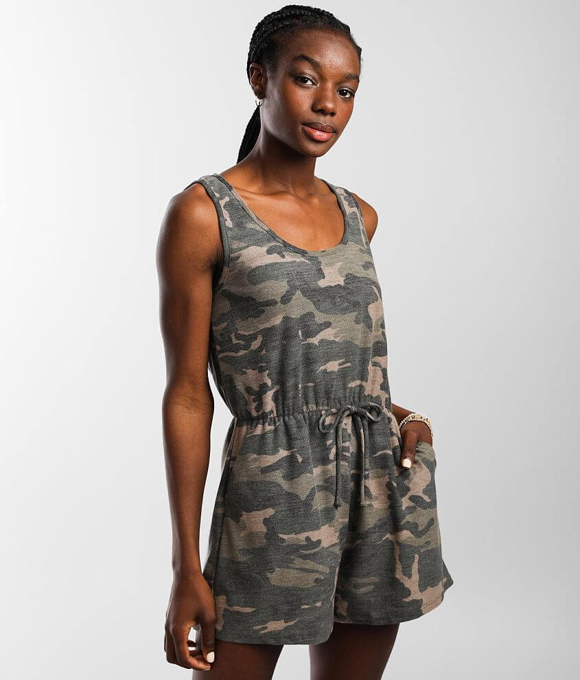 Daytrip Camo Knit Romper front view