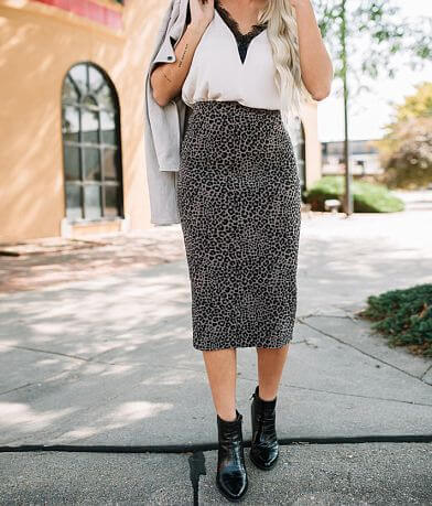 Willow & Root Fitted Animal Print Midi Skirt