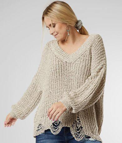 BKE Shaker Stitch Drop Shoulder Sweater