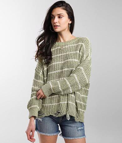 BKE Destructed Drop Shoulder Striped Sweater