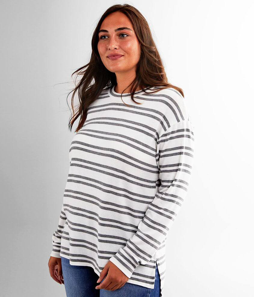 BKE Striped High Low Hem Pullover front view