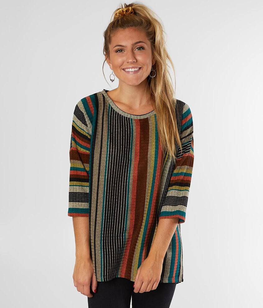 Daytrip Pointelle Striped Top front view