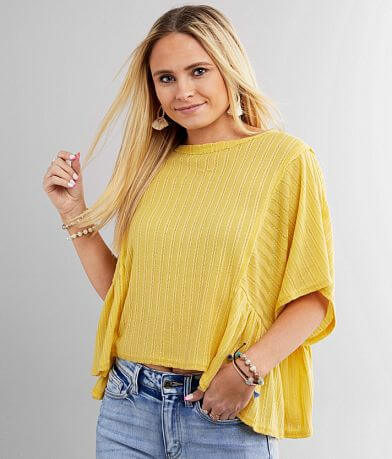 Daytrip Textured Pointelle Knit Babydoll Top