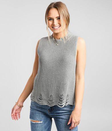 BKE Distressed Sweater Tank Top