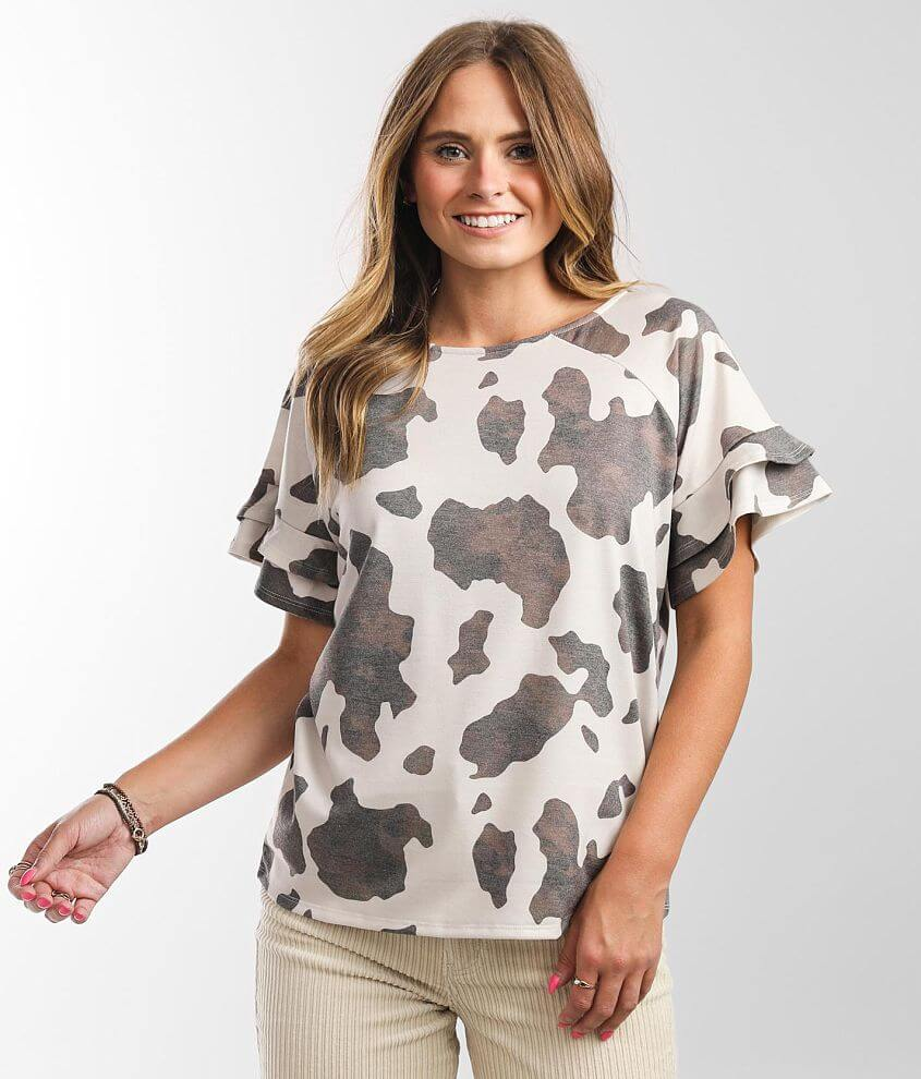Daytrip Cow Print Top front view