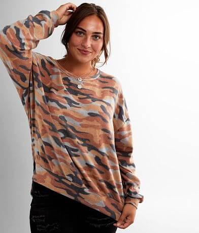 BKE Oversized Fleece Camo Pullover