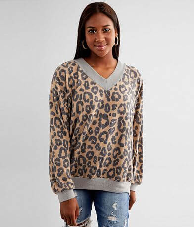 BKE Pieced Cheetah Print Top