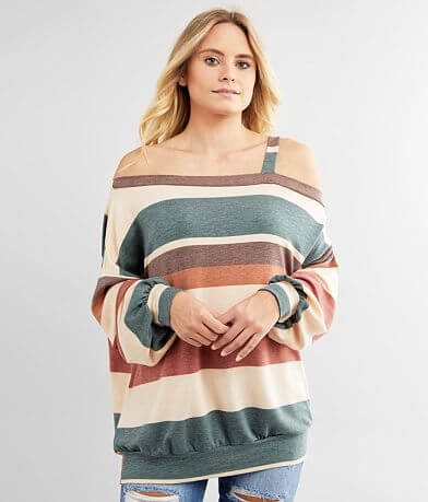 BKE Cold One Shoulder Striped Top