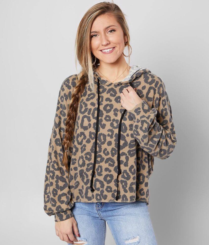 BKE Brushed Knit Cheetah Print Hoodie front view