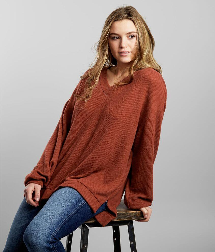 BKE Oversized High Low Hem Pullover front view