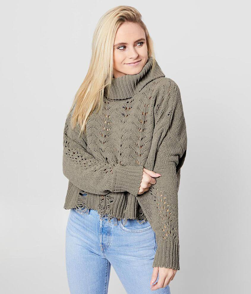 BKE Pointelle Cropped Pullover Sweater front view