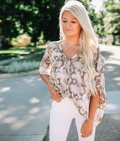 Willow & Root Snakeskin Oversized Dolman Top