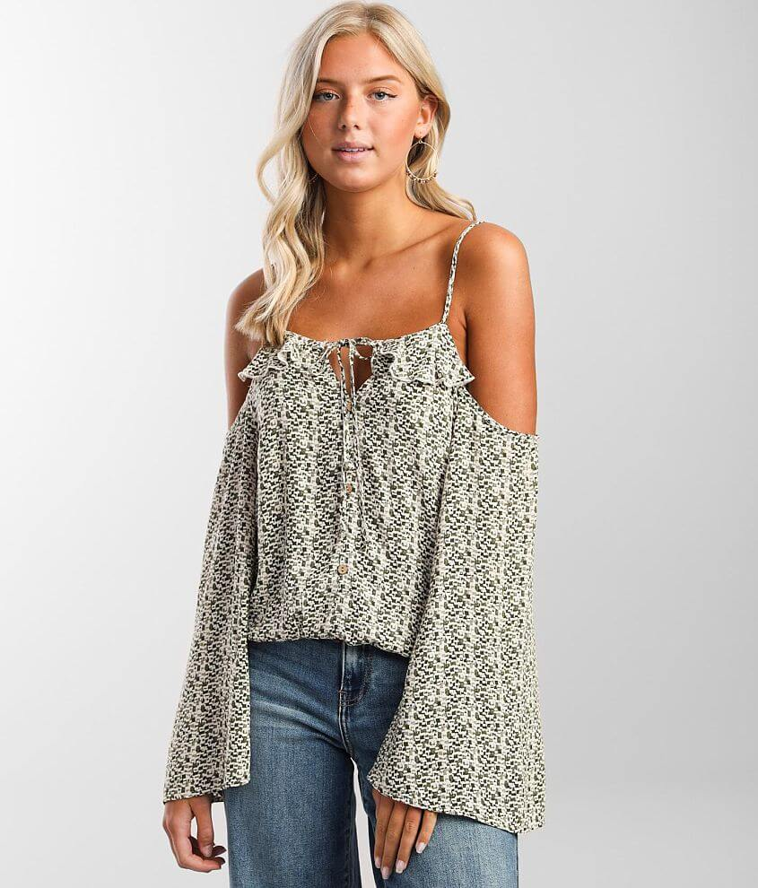 Daytrip Printed Ruffle Cold Shoulder Top front view